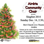 Singfest 2014 Poster Sunday Dec. 14, 2014 at 2:30 pm at Bert Church Live Theatre